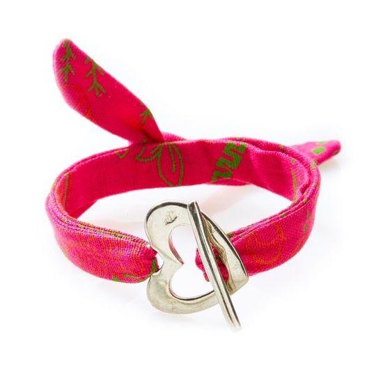 QUIRKY Shweshwe Bracelet Heart - Pink