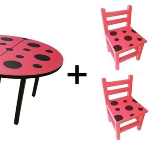 Ladybird Table (Large) and 4 Chairs Set