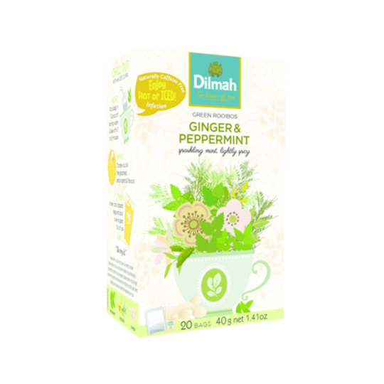 Dilmah Green Rooibos with Ginger & Peppermint (20 x 2g tagged tea bags)