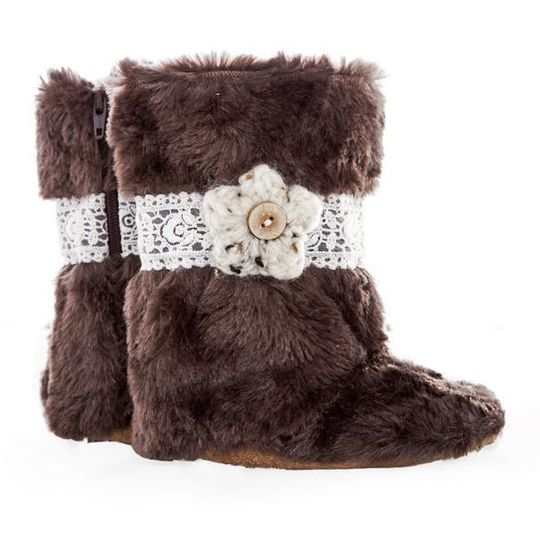 Boots / Girls - Brown Fur Lace and Flower - M0109