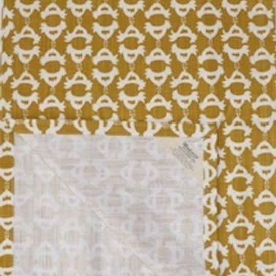 Mustard yellow minichicken runner printed on 100% cotton