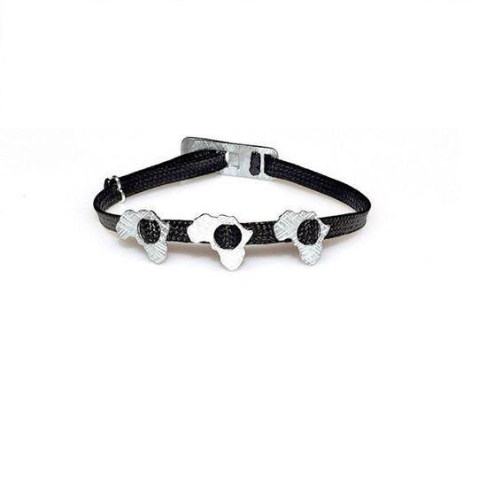ZESTY Waxed Ribbon Bracelet Africa - Black