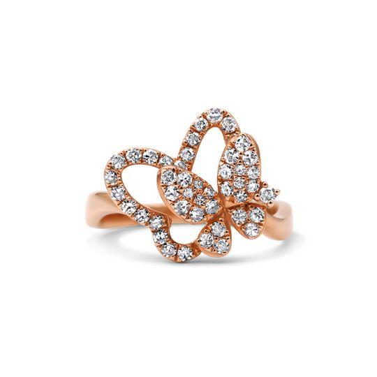 9ct Rose Gold Diamond Ring - Butterflies