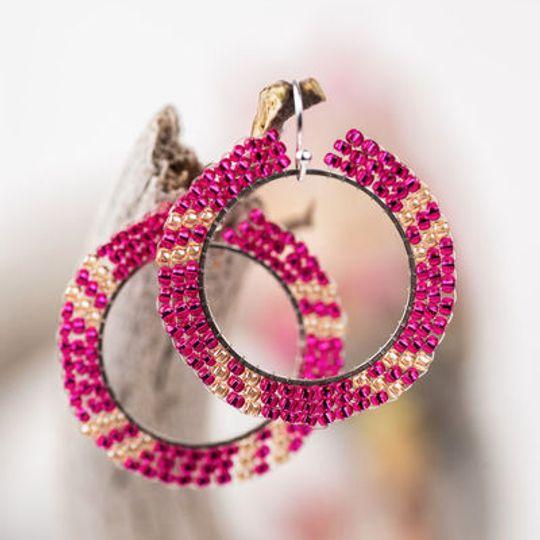 Round Hoop Miyuki Seed Beaded Earrings