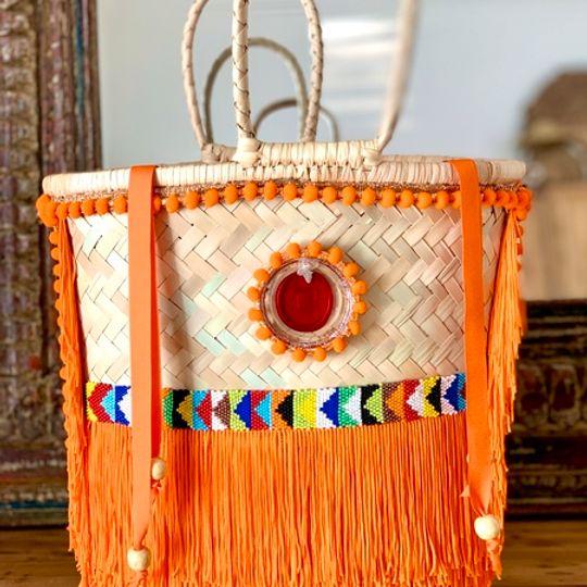 Gootchi Basket Tote Handbag/African Seed Bead - Orange