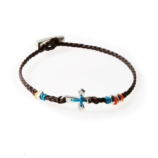 LEGEND Braided Bracelet Cross - Dark Brown