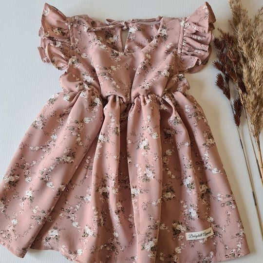 Pink floral frill sleeve dress