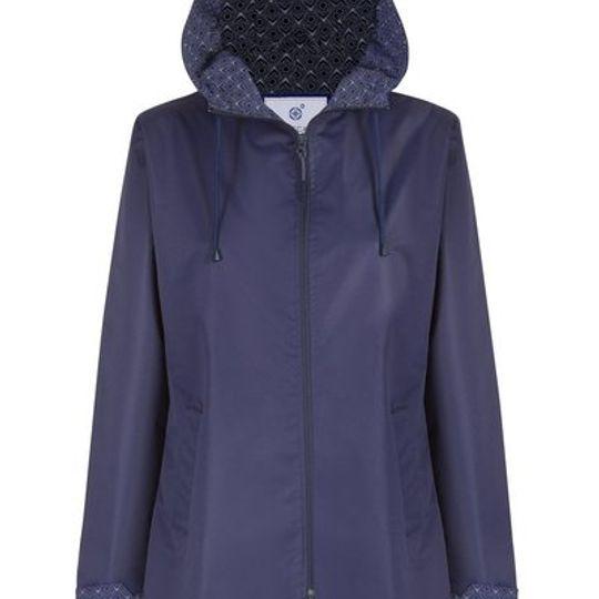 Navy Long Length Raincoat