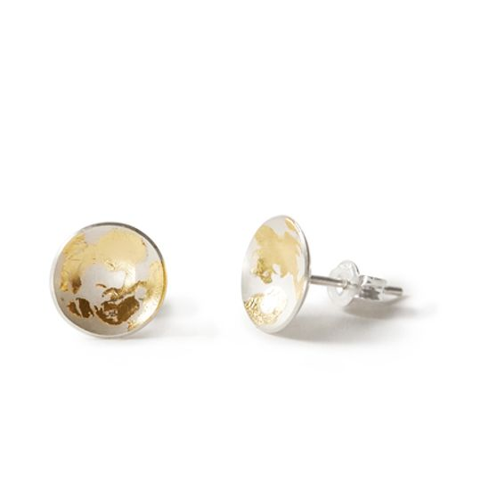 KVL094 silver domes with 22ct yellow gold leaf