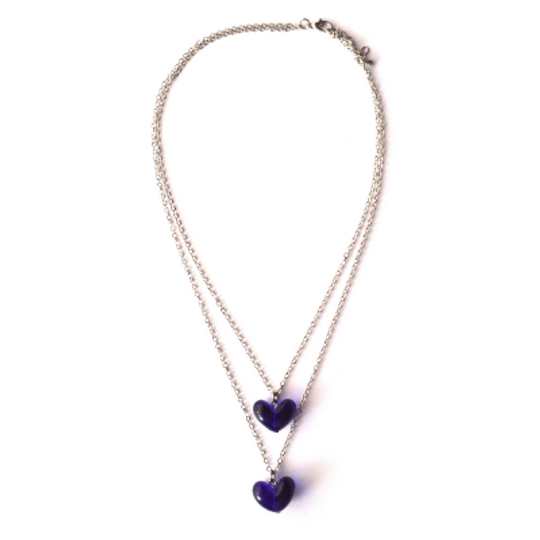 Double Glass Hearts Necklace