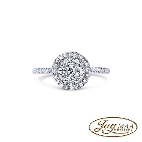 18ct White Gold Diamond Ring -Halo Illusion