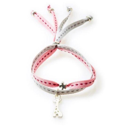 CHEEKY Bracelet with ribbons Giraffe - Dusty Pink/Light Grey