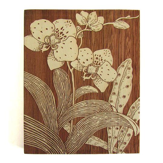 Woodblock Art - Orchid 1 - Bone White or Mustard