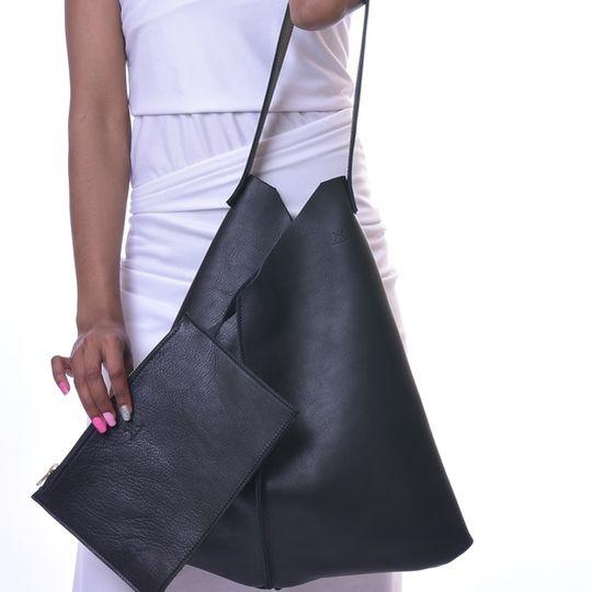 Leather V-Tote Bag