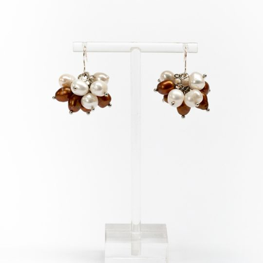 Cluster Earrings - Bronze & Pearl