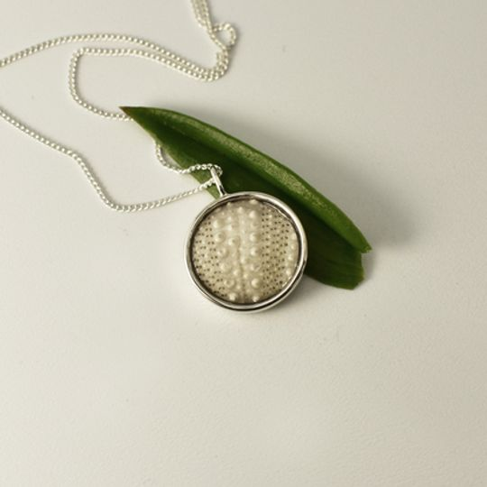 Round White Sea Urchin Necklace