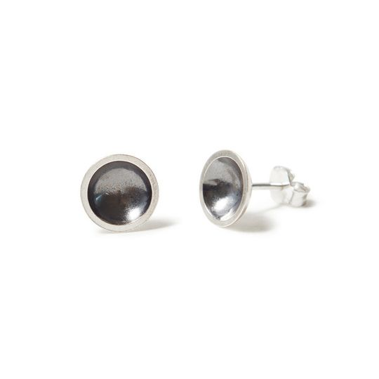 Silver & charcoal domed earrings