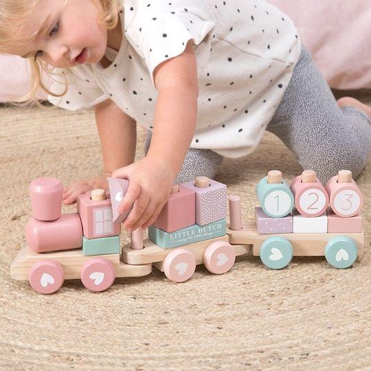 Little Dutch Wooden Stacking Train - Adventure Pink