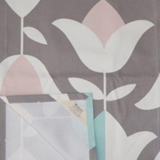 Tulip pink,grey and aqua on 100%cotton