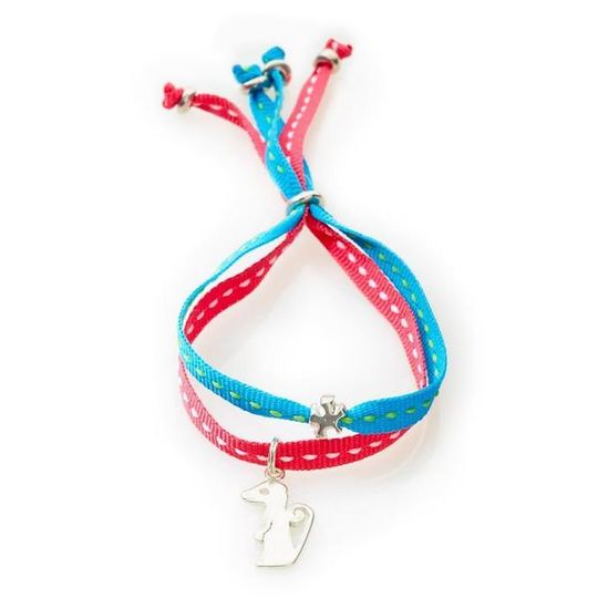 CHEEKY Bracelet with ribbons Meerkat - Turquoise/Cerise