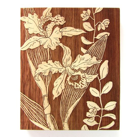 Woodblock Art - Orchid 2 - Bone White or Mustard