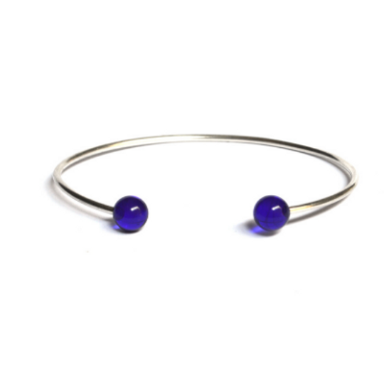 Silver Open Bangle with Glass Dots