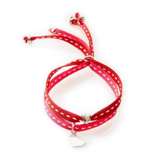 CHEEKY Bracelet with ribbons Heart - Cerise/Red