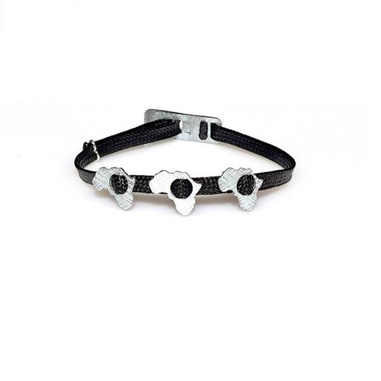 ZESTY Waxed Ribbon Bracelet Africa - Black