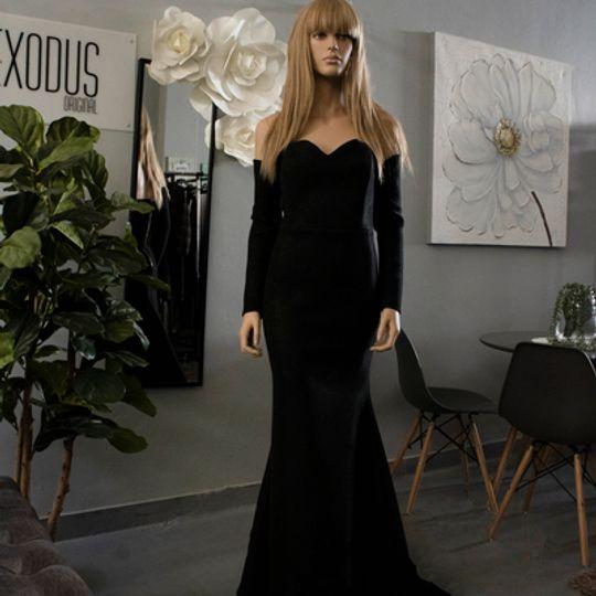 Black Sparkle long Sleeve Ballgown