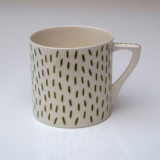 Olive Green Dashes Mug