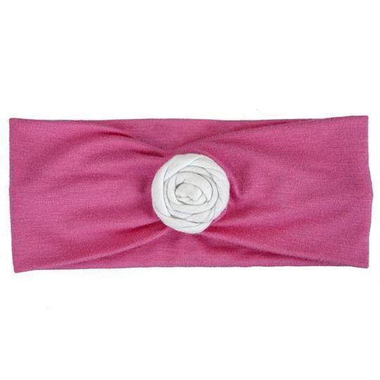 Headband / Girls - Pink with White Rose - M0200