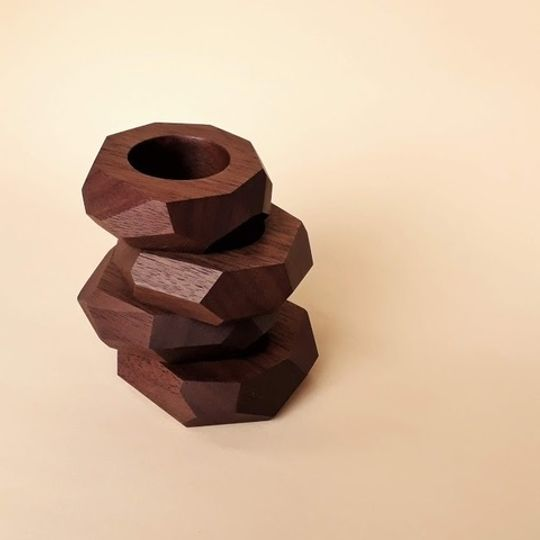 Facet Walnut Wood Napkin Rings