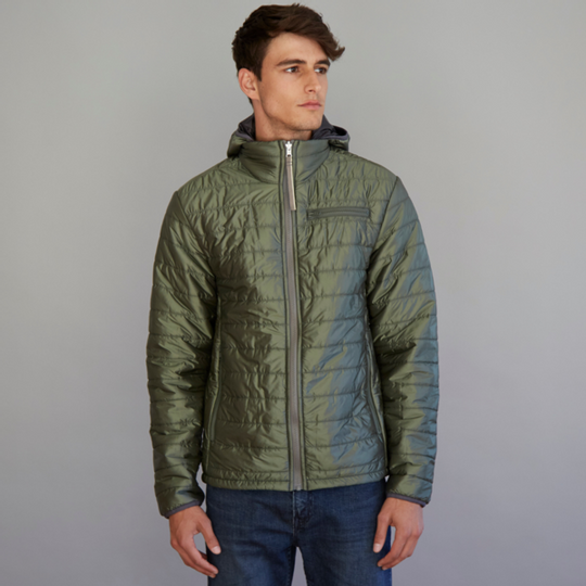 Men's reversible wool filled jacket in Olive and Charcoal