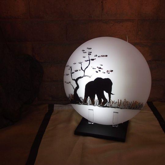 Sunset Candle Elephant white