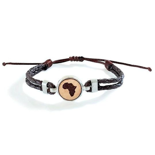 HUNK Braided leather Bracelet Africa - Dark Brown