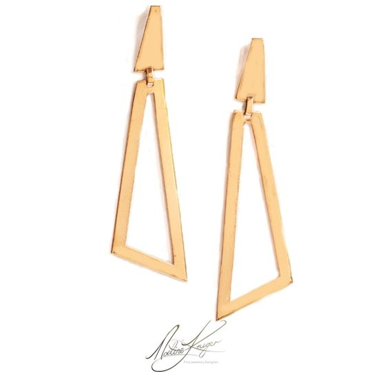 Triangle minimalist copper earrings