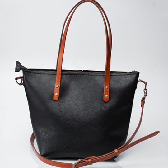 Cross Body Totebag - Black and Tan