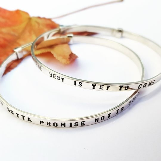Adjustable personalised sterling silver bangle