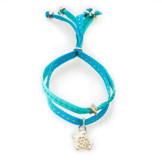 CHEEKY Bracelet with ribbons Turtle - Emerald/Turquoise