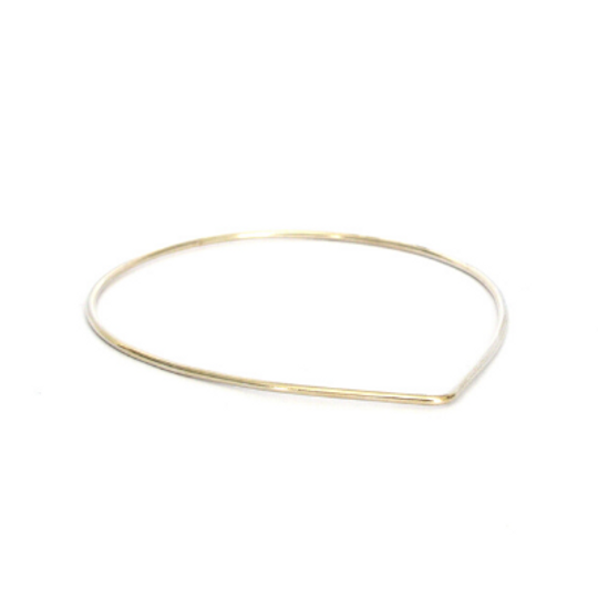 Silver Bangle - Teardrop Shape