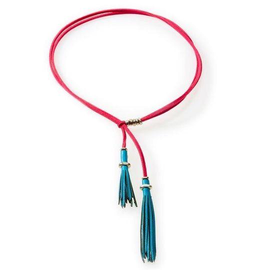 WILD Leather tassel Necklace, Choker & Bracelet Turquoise and Cerise