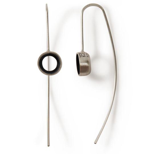 KVL133 oxidized silver tube earrings