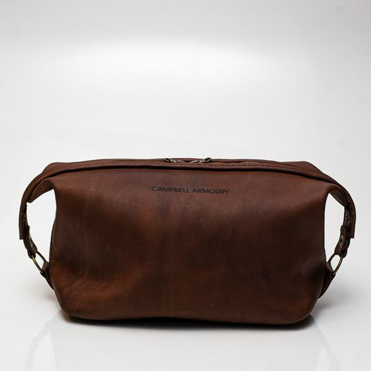 Leather Toiletry Bag - Brown